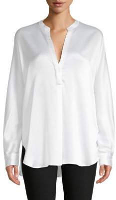 Vince Split Neck Silk Blouse