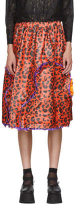 Comme des Garcons Red Animal Print Faux-Leather Skirt