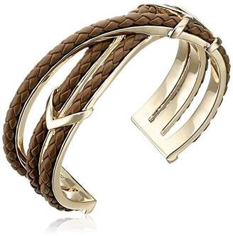 "Cole Haan Leather Items"" Brown Chevron Metal and Braided Cuff Bracelet"
