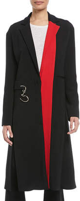 Cushnie et Ochs Notched-Lapel Colorblocked Stretch-Cady Midi Coat w/ Twisted Hardware