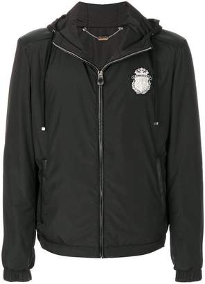 Billionaire logo patch hooded jacket