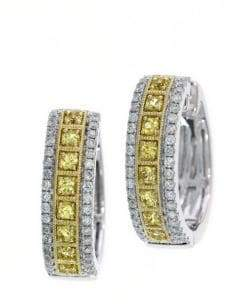 Effy Yellow Sapphire, Diamond and 14K White Gold Hoop Earrings