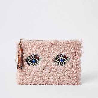 River Island Womens Light Pink borg embellished eye clutch bag