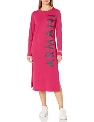 Armani Exchange A|X Women's Knee Length Long Sleeved Shirt Dress with Logo Down Side