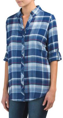 Rolled Sleeve Plaid Shirt