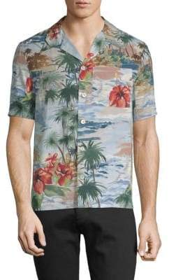 Valentino Graphic Short-Sleeve Button-Down Shirt