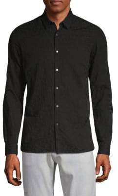 The Kooples Distressed Cotton Button-Down Shirt