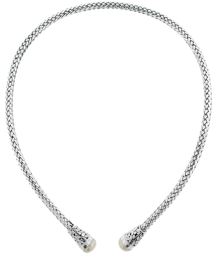 Cultured Pearl & Sterling Silver Woven Collar Neck...