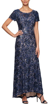 Alex Evenings Embroidered Lace A-Line Gown