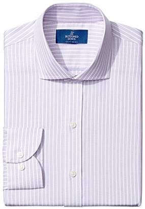 Buttoned Down Men's Slim Fit Cutaway-Collar Textured Stripe Non-Iron Dress Shirt