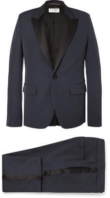 Saint Laurent Navy Slim-Fit Satin-Trimmed Virgin Wool Tuxedo