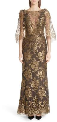 Marchesa Cape Detail Metallic Lace Gown