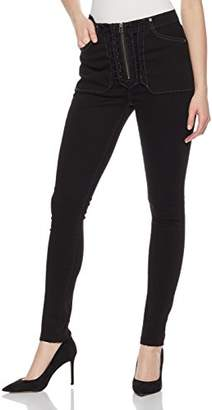 Fly London HALE Women's Bonnie High Rise Skinny Jean with Zipper Lace up Jean 29