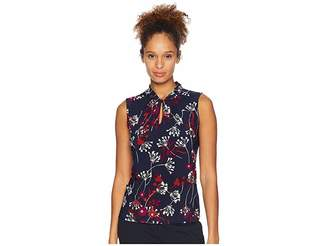 Tommy Hilfiger Floral Printed Knot Keyhole Knit Women's Clothing