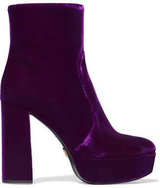 Prada Velvet Platform Ankle Boots - Purple