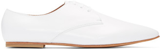 Junya Watanabe White Pointed Derbys $600 thestylecure.com