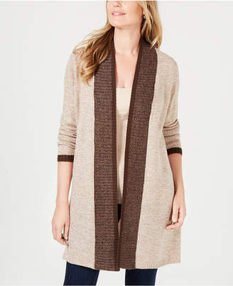 Karen Scott Contrast-Trim Open-Front Cardigan, Created for Macy's