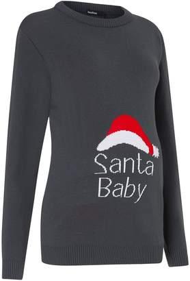 Next Womens Boohoo Maternity Santa Baby Christmas Jumper