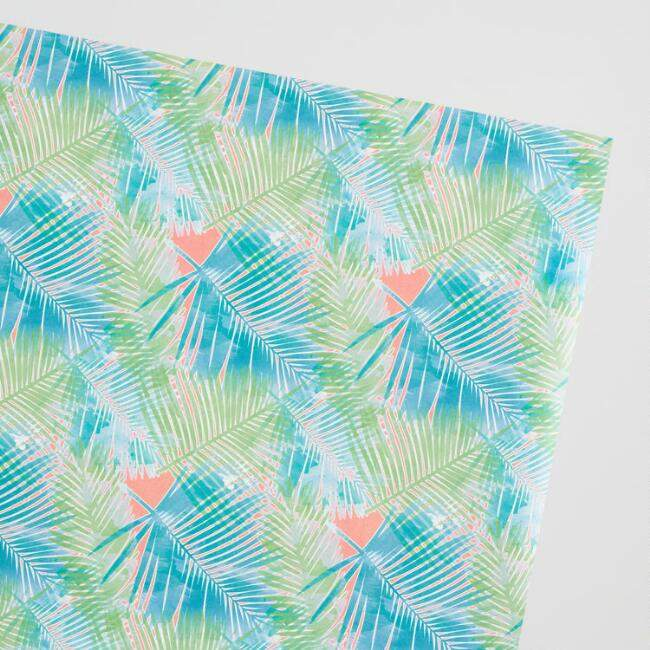 Pink Jungle Leaves Wrapping Paper Roll
