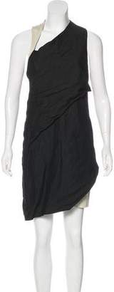 Helmut Lang Leather-Accented Sleeveless Dress