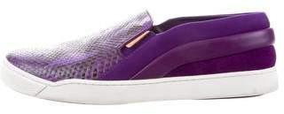 Louis Vuitton Snakeskin Round-Toe Sneakers