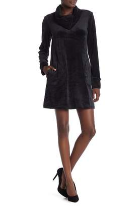 Max Studio Velour Cowl Neck Sweatshirt Dress