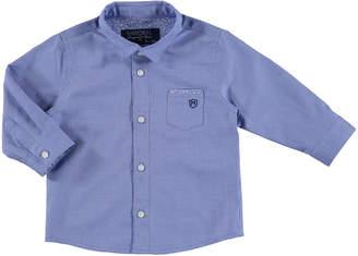 Mayoral Long-Sleeve Mini Gingham Poplin Shirt, Blue, Size 3-24 Months