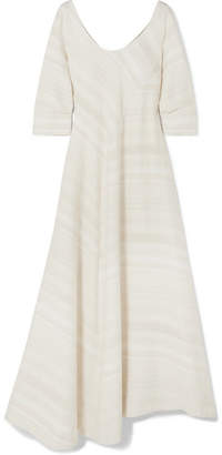 Lisa Marie Fernandez Paneled Textured-cotton Maxi Dress - Cream