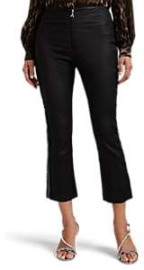 Area Women's Drew Embellished Leather Crop Flared Pants - Black