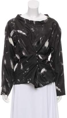 Dries Van Noten Silk Long Sleeve Top