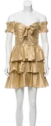 Caroline Constas Off-The-Shoulder Gingham Dress