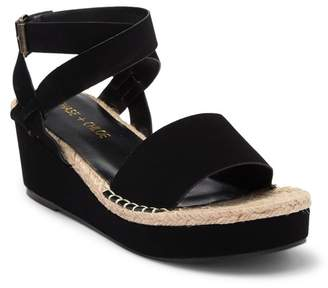 Chase & Chloe Gaston Open Toe Ankle Strap Espadrille Wedge Sandal