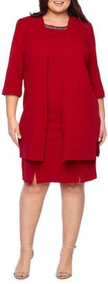 MAYA BROOKE Maya Brooke 3/4 Sleeve Embellished Duster Jacket Dress - Plus