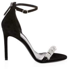 CALVIN KLEIN 205W39NYC Camelle Jeweled Suede Ankle-Strap Sandals