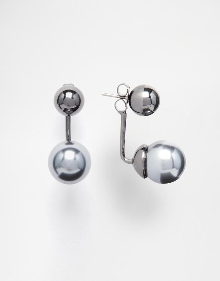 Pieces Pearl Swing Stud Earrings