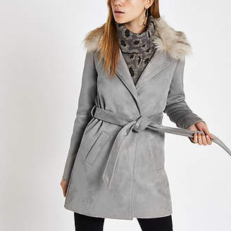 River Island Womens Grey faux fur trim belted robe coat