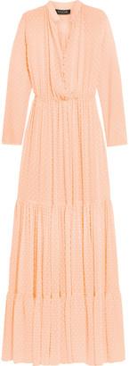 Saloni Alexia Swiss-dot chiffon maxi dress $520 thestylecure.com