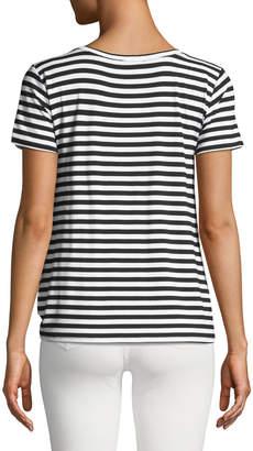 Neiman Marcus Striped Twist-Front Draped Tee