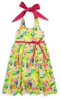 Little Girl's & Girl's Floral-Print Halter Cotton Dress