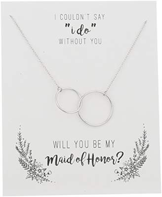 """Sterling Silver Interlocking Double Circles """"Be My Maid of Honor"""" Gift On Sentiment Card Necklace"""