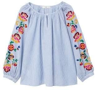MANGO Embroidered fine-stripe blouse