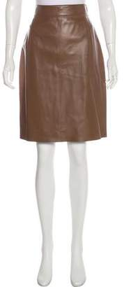 Akris Punto Leather Knee-Length Skirt w/ Tags