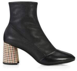 3.1 Phillip Lim Drum Plaid Block Heel Leather Booties