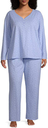 Adonna Long Sleeve Pant Pajama Set- Plus