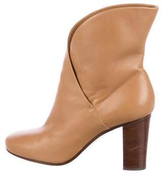 Celine Leather Square-Toe Ankle Boots