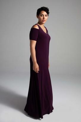 Shegul Amelia Cold Shoulder Dress in Aubergine Size Large/20-22 Polyester