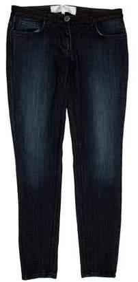 Elisabetta Franchi Mid-Rise Leather-Trimmed Jeans