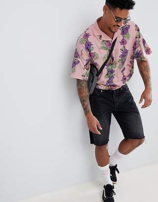 Asos DESIGN oversized polo with tropical Hawaiian floral print and revere collar
