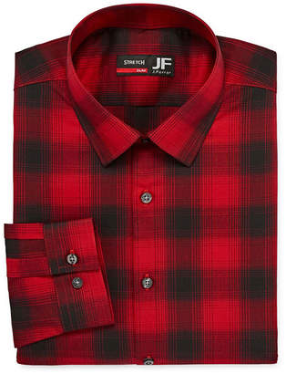 Jf J.Ferrar Tartan Trend Easy-Care Stretch Big And Tall Long Sleeve Woven Gingham Dress Shirt