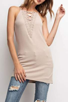 Easel Laced-Up Cami Tunic